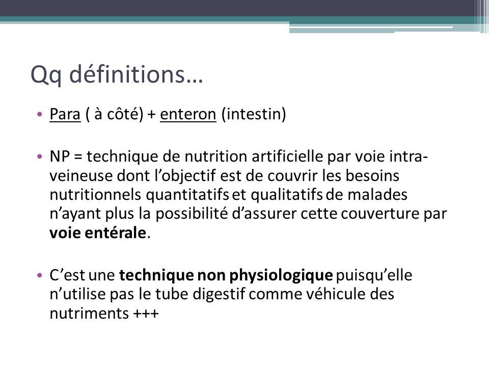 Qq définitions… Para ( à côté) + enteron (intestin) NP = technique de nutrition artificielle par voie intra- veineuse dont l'objectif est de couvrir l