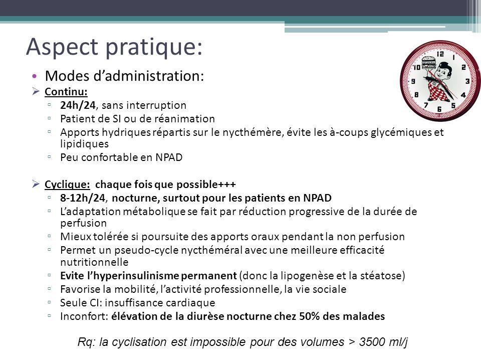 Aspect pratique: Modes d'administration:  Continu: ▫ 24h/24, sans interruption ▫ Patient de SI ou de réanimation ▫ Apports hydriques répartis sur le