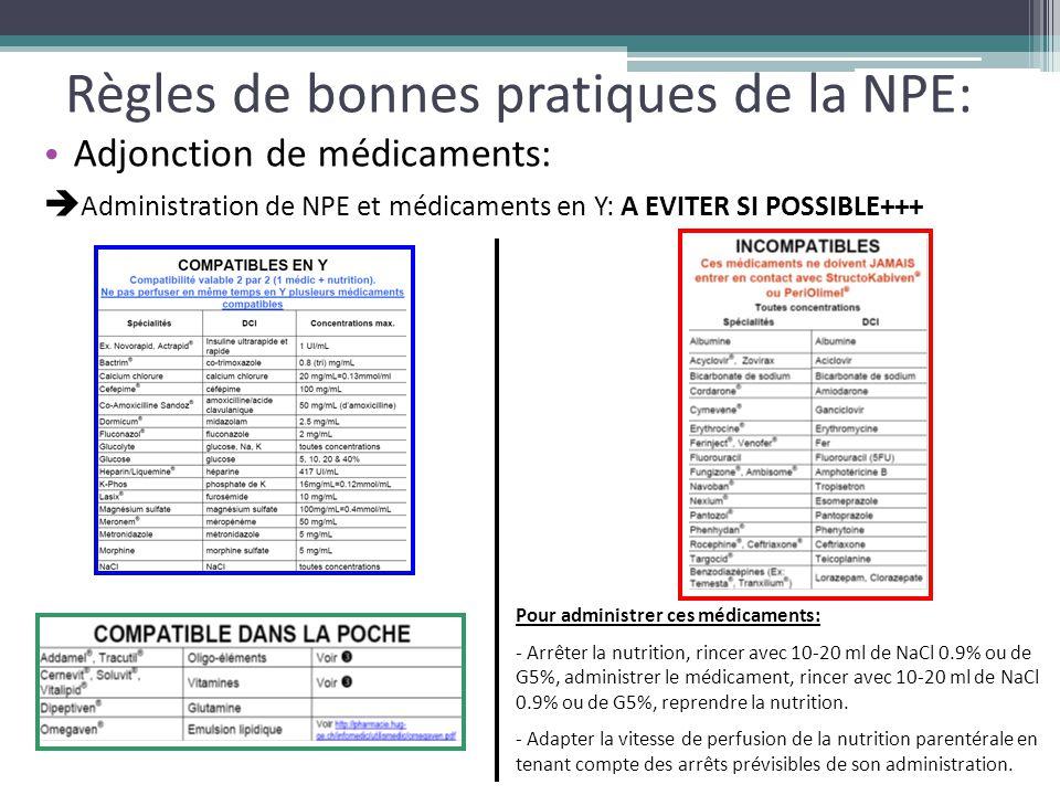 Règles de bonnes pratiques de la NPE: Adjonction de médicaments:  Administration de NPE et médicaments en Y: A EVITER SI POSSIBLE+++ Pour administrer