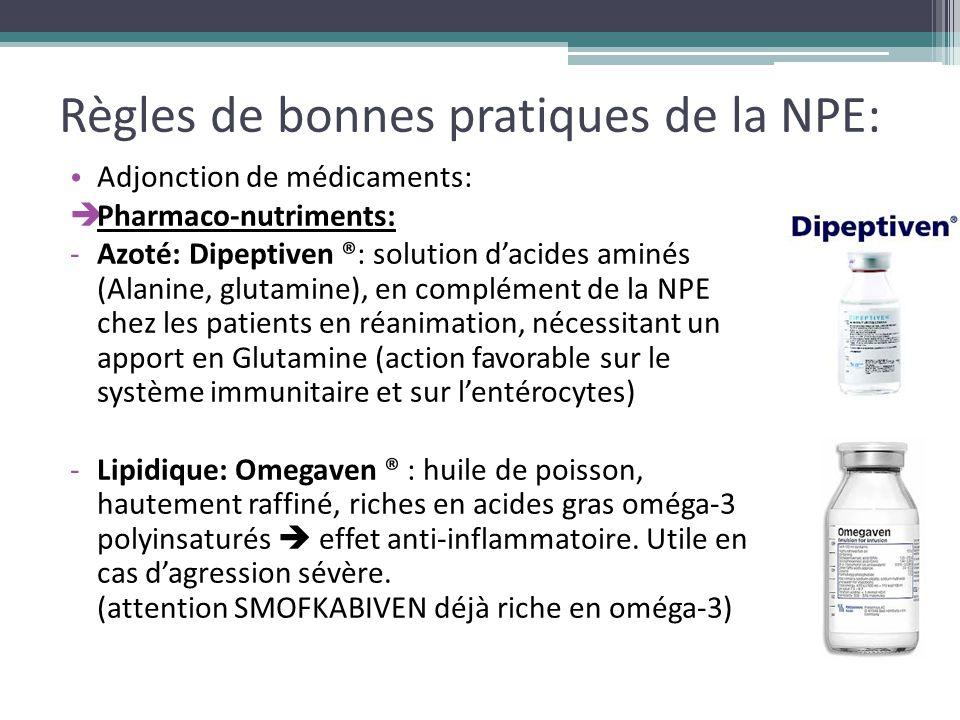 Règles de bonnes pratiques de la NPE: Adjonction de médicaments:  Pharmaco-nutriments: -Azoté: Dipeptiven ®: solution d'acides aminés (Alanine, gluta