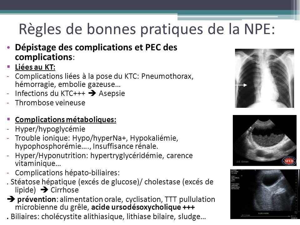 Règles de bonnes pratiques de la NPE: Dépistage des complications et PEC des complications :  Liées au KT: -Complications liées à la pose du KTC: Pne