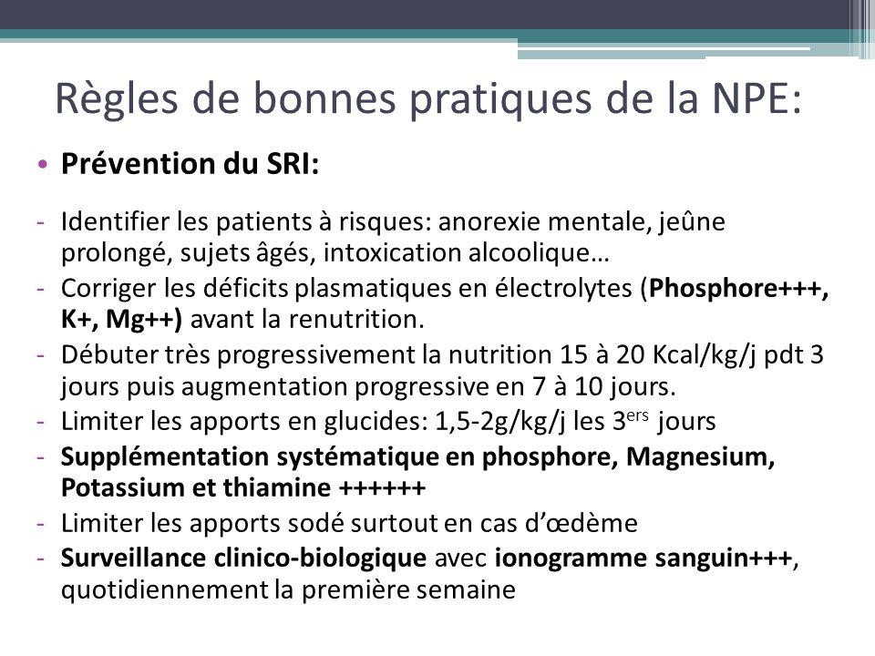 Règles de bonnes pratiques de la NPE: Prévention du SRI: -Identifier les patients à risques: anorexie mentale, jeûne prolongé, sujets âgés, intoxicati