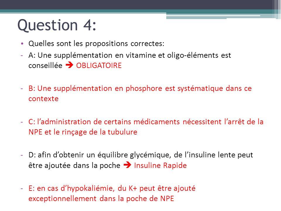 Question 4: Quelles sont les propositions correctes: -A: Une supplémentation en vitamine et oligo-éléments est conseillée  OBLIGATOIRE -B: Une supplé