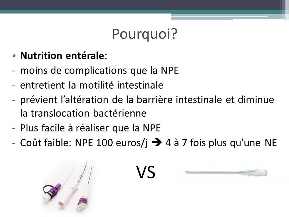 Pourquoi? Nutrition entérale: -moins de complications que la NPE -entretient la motilité intestinale -prévient l'altération de la barrière intestinale