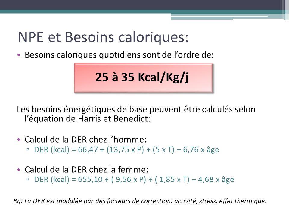 NPE et Besoins caloriques: Besoins caloriques quotidiens sont de l'ordre de: 25 à 35 Kcal/Kg/j Les besoins énergétiques de base peuvent être calculés