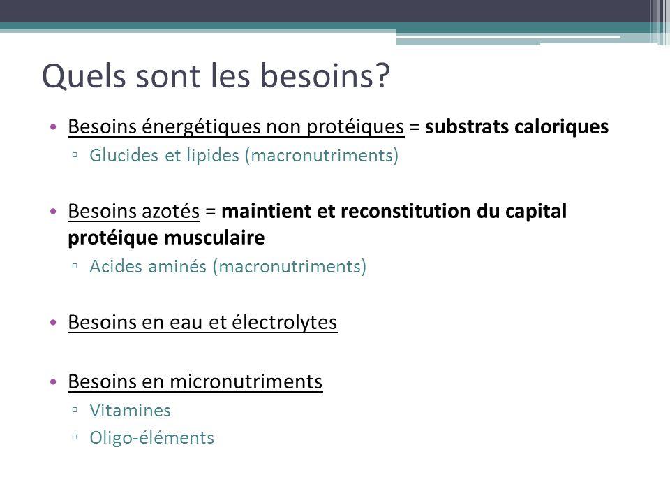Quels sont les besoins? Besoins énergétiques non protéiques = substrats caloriques ▫ Glucides et lipides (macronutriments) Besoins azotés = maintient