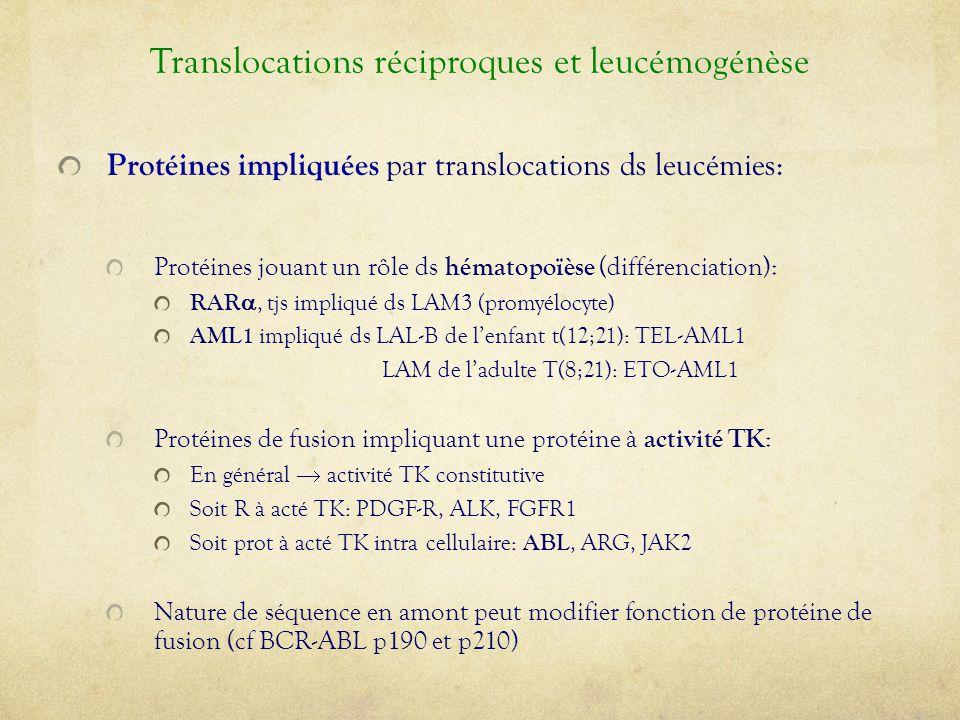 Protéines impliquées par translocations ds leucémies: Protéines jouant un rôle ds hématopoïèse (différenciation): RAR , tjs impliqué ds LAM3 (promyél