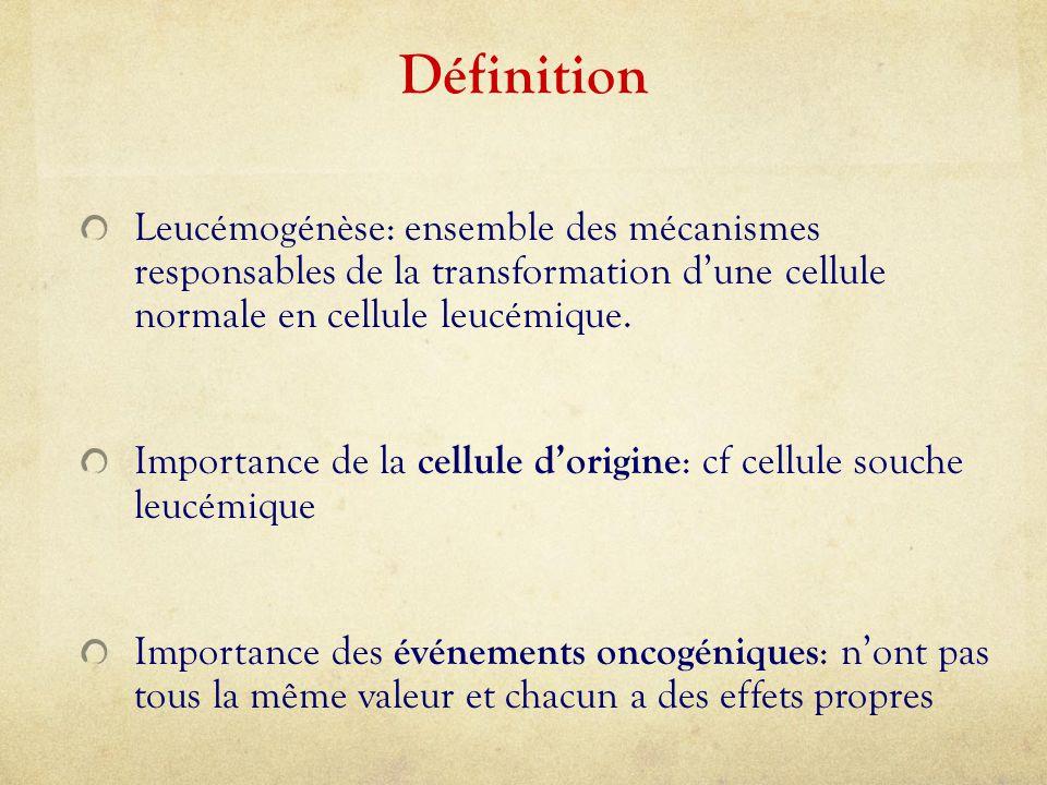 Définition Leucémogénèse: ensemble des mécanismes responsables de la transformation d'une cellule normale en cellule leucémique. Importance de la cell