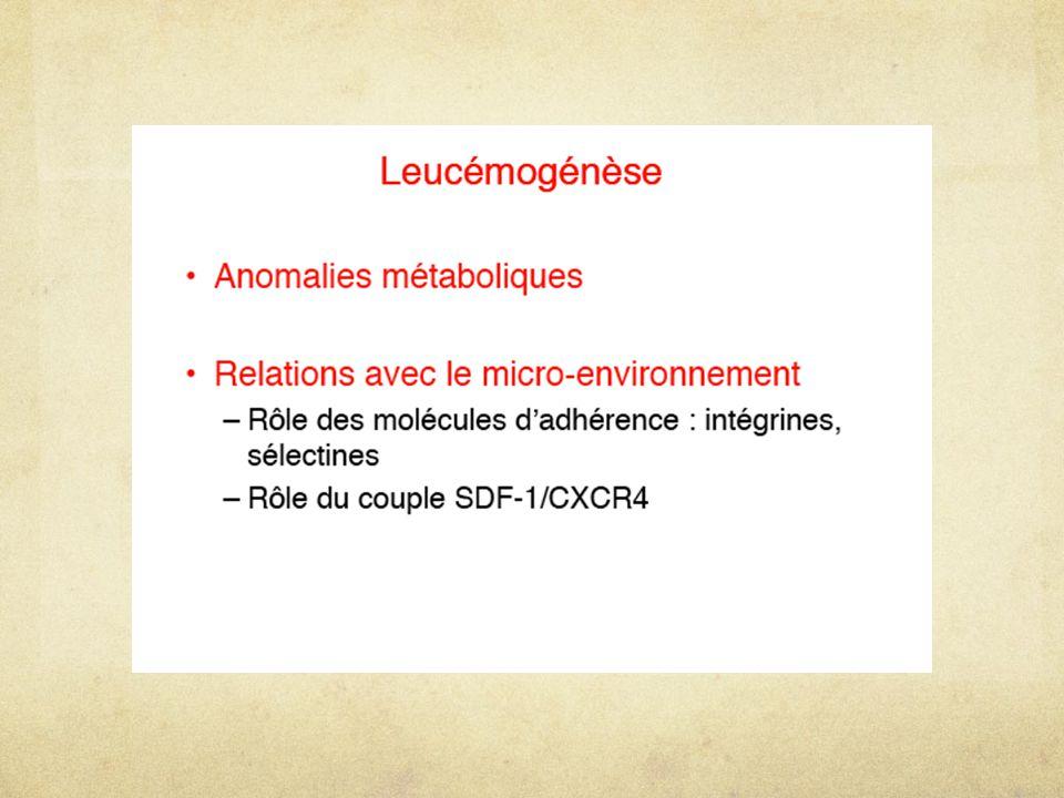 Modèle de la leucémie myéloïde chronique Sd myéloprolifératif Stimulation lignées myéloïdes, essentiellement granuleux chromosome Philadelphie: T(9;22)  BCR-ABL Modèle de leucémogénèse++ Évolution en 3 étapes: chronique/ accélérée/ blastique (= LAM) Chaque étape: agressivité supplémentaire, acquisition aN CG et perte de différenciation