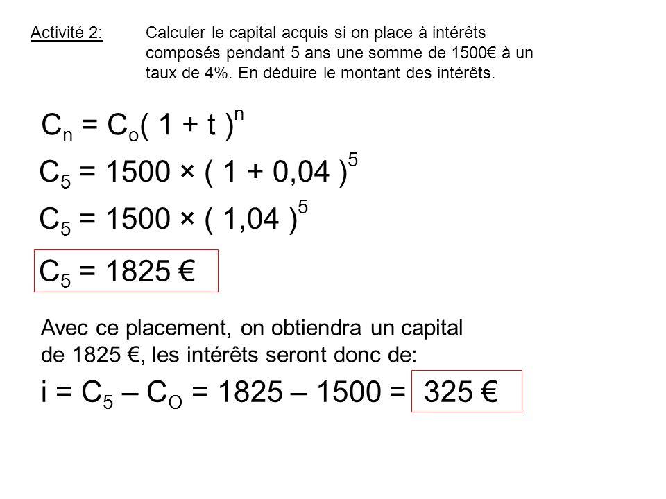 Activité 2:Calculer le capital acquis si on place à intérêts composés pendant 5 ans une somme de 1500€ à un taux de 4%. En déduire le montant des inté