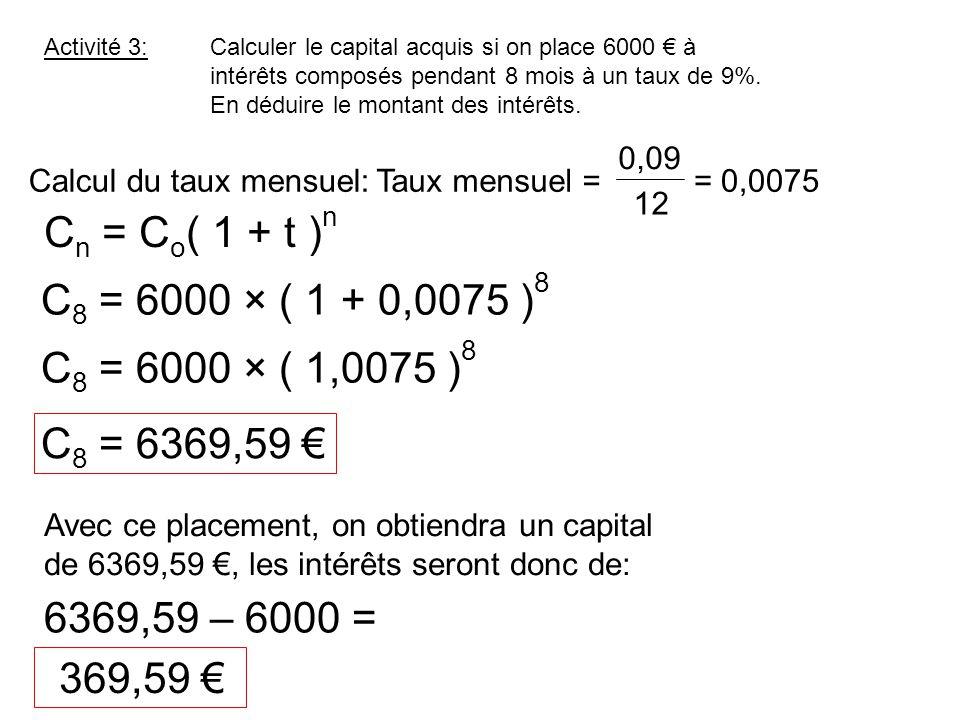 C 8 = 6369,59 € Calculer le capital acquis si on place 6000 € à intérêts composés pendant 8 mois à un taux de 9%. En déduire le montant des intérêts.