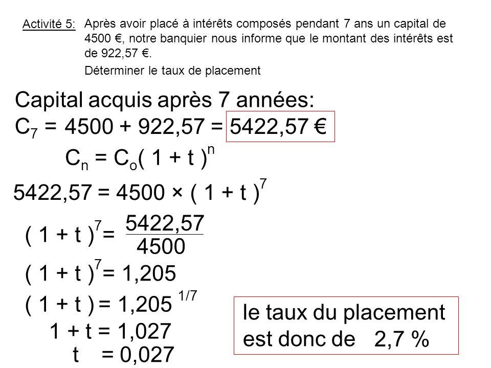 Activité 5: Après avoir placé à intérêts composés pendant 7 ans un capital de 4500 €, notre banquier nous informe que le montant des intérêts est de 9