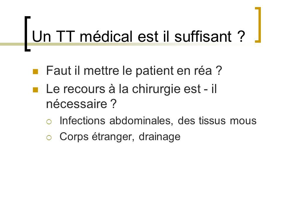Un TT médical est il suffisant ? Faut il mettre le patient en réa ? Le recours à la chirurgie est - il nécessaire ?  Infections abdominales, des tiss