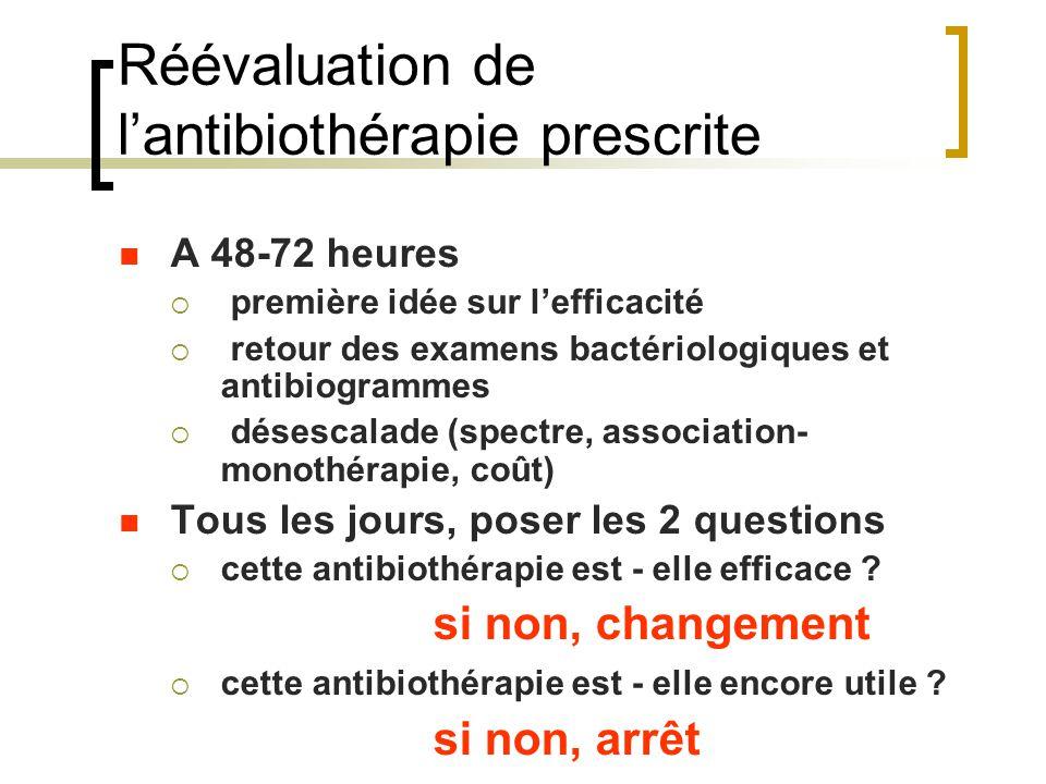 Réévaluation de l'antibiothérapie prescrite A 48-72 heures  première idée sur l'efficacité  retour des examens bactériologiques et antibiogrammes 