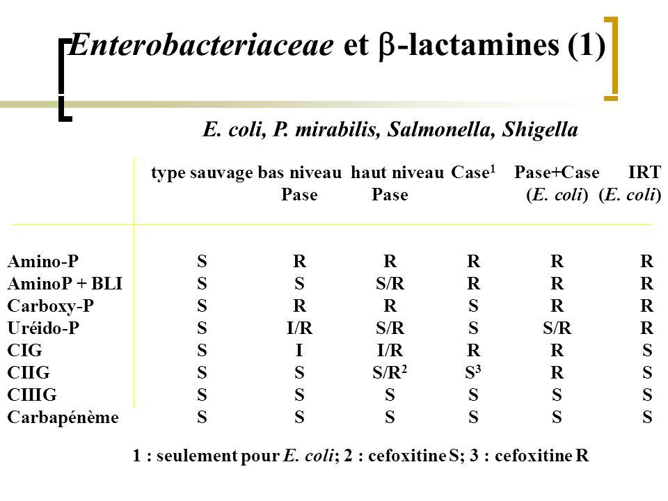Enterobacteriaceae et  -lactamines (1) type sauvage bas niveau haut niveau Case 1 Pase+CaseIRT Pase Pase (E. coli)(E. coli) Amino-PSRRRRR AminoP + BL