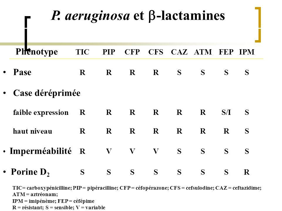 P. aeruginosa et  -lactamines Phénotype TICPIPCFPCFSCAZATMFEPIPM Pase RRRRSSSS Case déréprimée faible expressionRRRRRRS/IS haut niveauRRRRRRRS Imperm