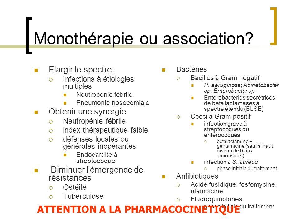Monothérapie ou association? Elargir le spectre:  Infections à étiologies multiples Neutropénie fébrile Pneumonie nosocomiale Obtenir une synergie 