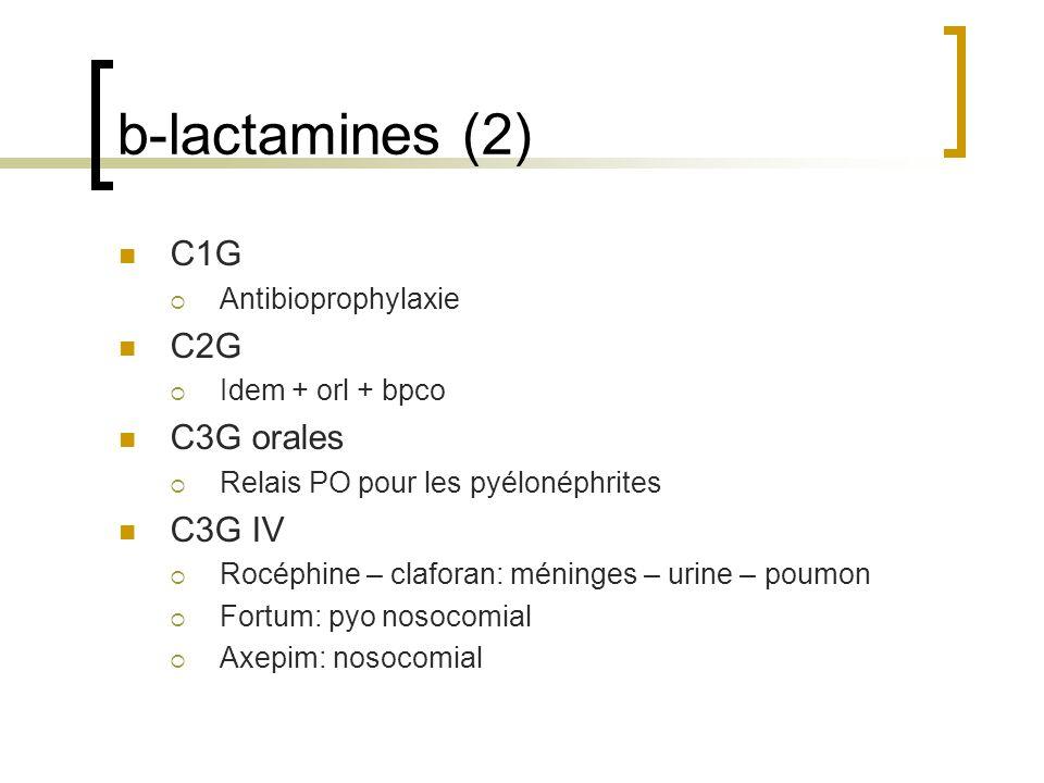b-lactamines (2) C1G  Antibioprophylaxie C2G  Idem + orl + bpco C3G orales  Relais PO pour les pyélonéphrites C3G IV  Rocéphine – claforan: méning