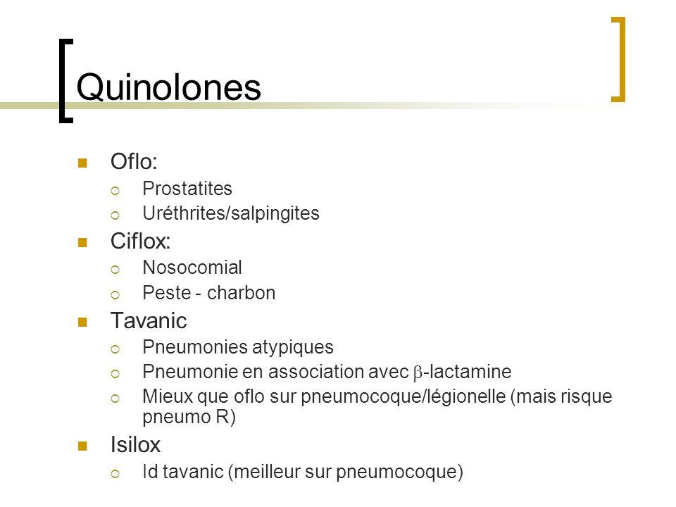 Quinolones Oflo:  Prostatites  Uréthrites/salpingites Ciflox:  Nosocomial  Peste - charbon Tavanic  Pneumonies atypiques  Pneumonie en associati