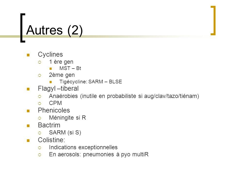 Autres (2) Cyclines  1 ère gen MST – Bt  2ème gen Tigécycline: SARM – BLSE Flagyl –tiberal  Anaérobies (inutile en probabiliste si aug/clav/tazo/ti