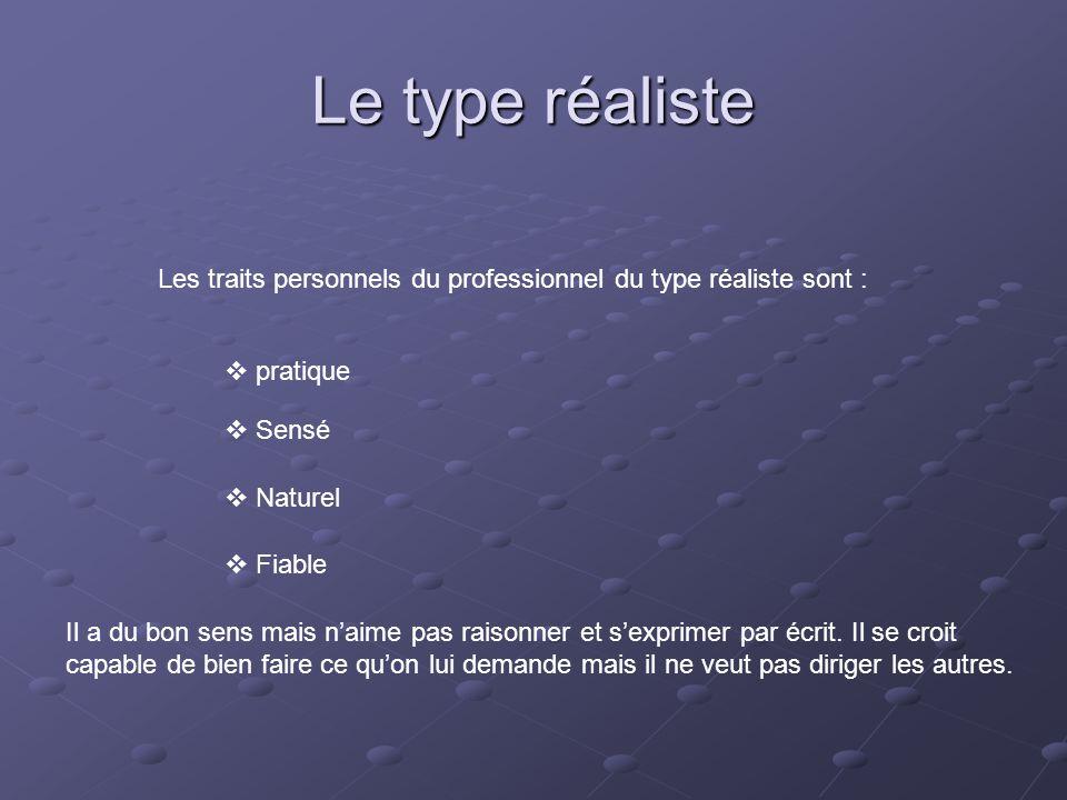 Le type réaliste Les traits personnels du professionnel du type réaliste sont :  pratique  Sensé  Naturel  Fiable Il a du bon sens mais n'aime pas