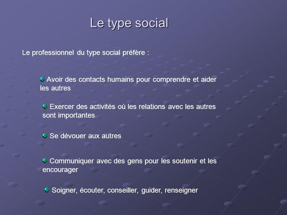 Le type social Le professionnel du type social préfère : Avoir des contacts humains pour comprendre et aider les autres Exercer des activités où les r