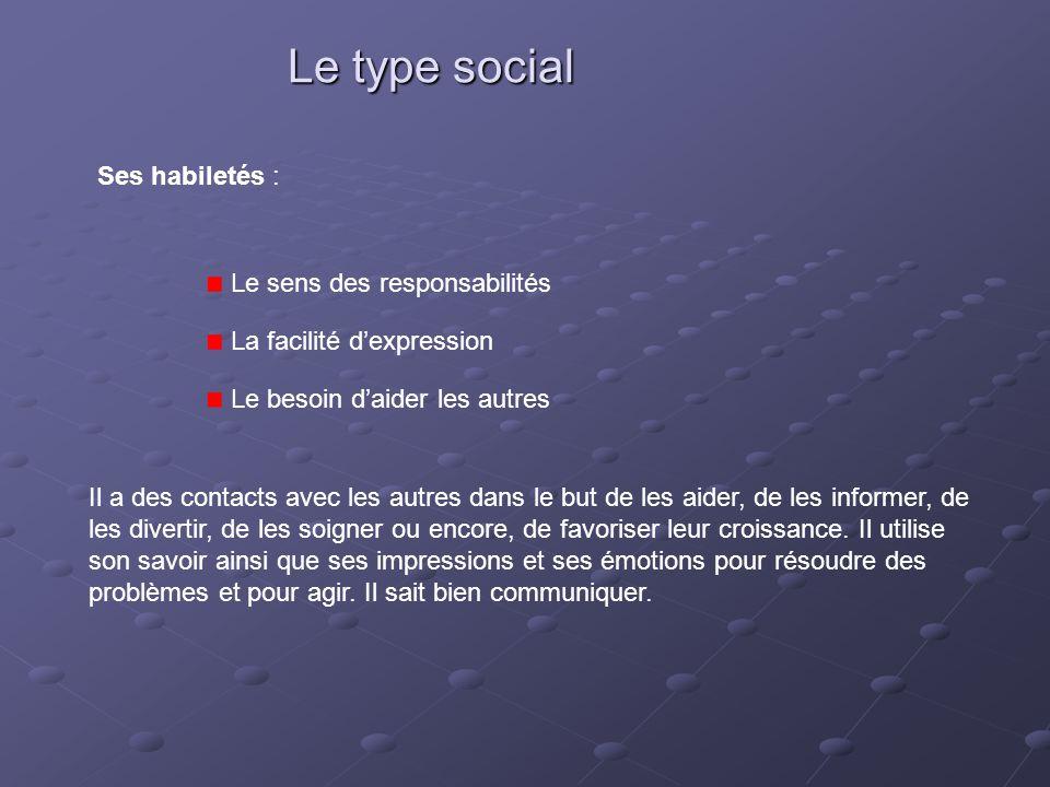 Le type social Ses habiletés : Le sens des responsabilités La facilité d'expression Le besoin d'aider les autres Il a des contacts avec les autres dan