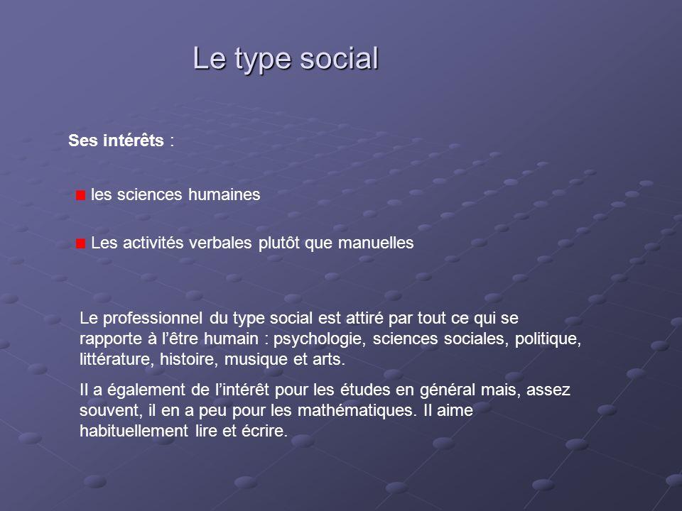 Le type social Ses intérêts : les sciences humaines Les activités verbales plutôt que manuelles Le professionnel du type social est attiré par tout ce