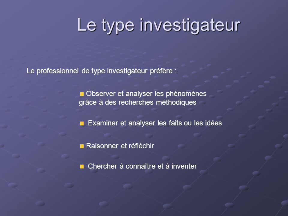 Le type investigateur Le professionnel de type investigateur préfère : Observer et analyser les phénomènes grâce à des recherches méthodiques Examiner