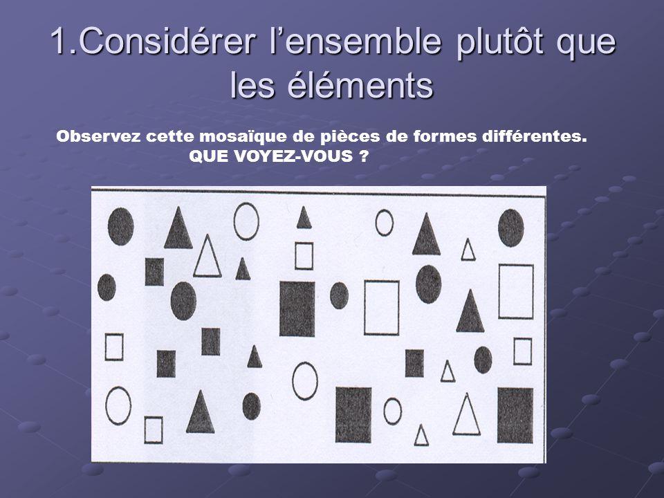 1.Considérer l'ensemble plutôt que les éléments Observez cette mosaïque de pièces de formes différentes. QUE VOYEZ-VOUS ?