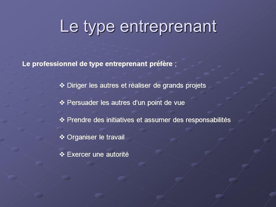 Le type entreprenant Le professionnel de type entreprenant préfère ;  Diriger les autres et réaliser de grands projets  Persuader les autres d'un po