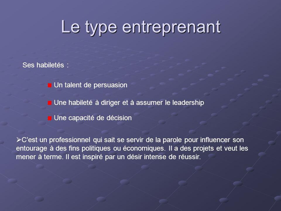 Le type entreprenant Ses habiletés : Un talent de persuasion Une habileté à diriger et à assumer le leadership Une capacité de décision  C'est un pro