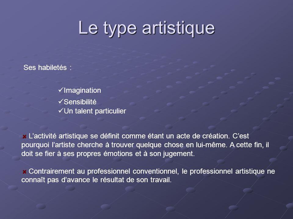 Le type artistique Ses habiletés : Imagination Sensibilité Un talent particulier L'activité artistique se définit comme étant un acte de création. C'e