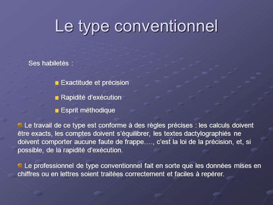 Le type conventionnel Ses habiletés : Exactitude et précision Rapidité d'exécution Esprit méthodique Le travail de ce type est conforme à des règles p