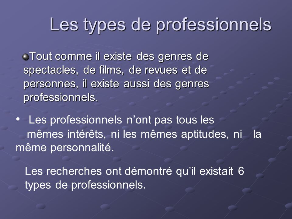 Les types de professionnels Tout comme il existe des genres de spectacles, de films, de revues et de personnes, il existe aussi des genres professionn