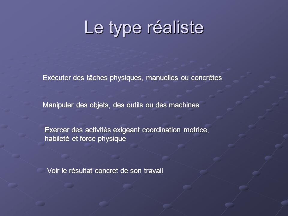 Le type réaliste Exécuter des tâches physiques, manuelles ou concrêtes Manipuler des objets, des outils ou des machines Exercer des activités exigeant