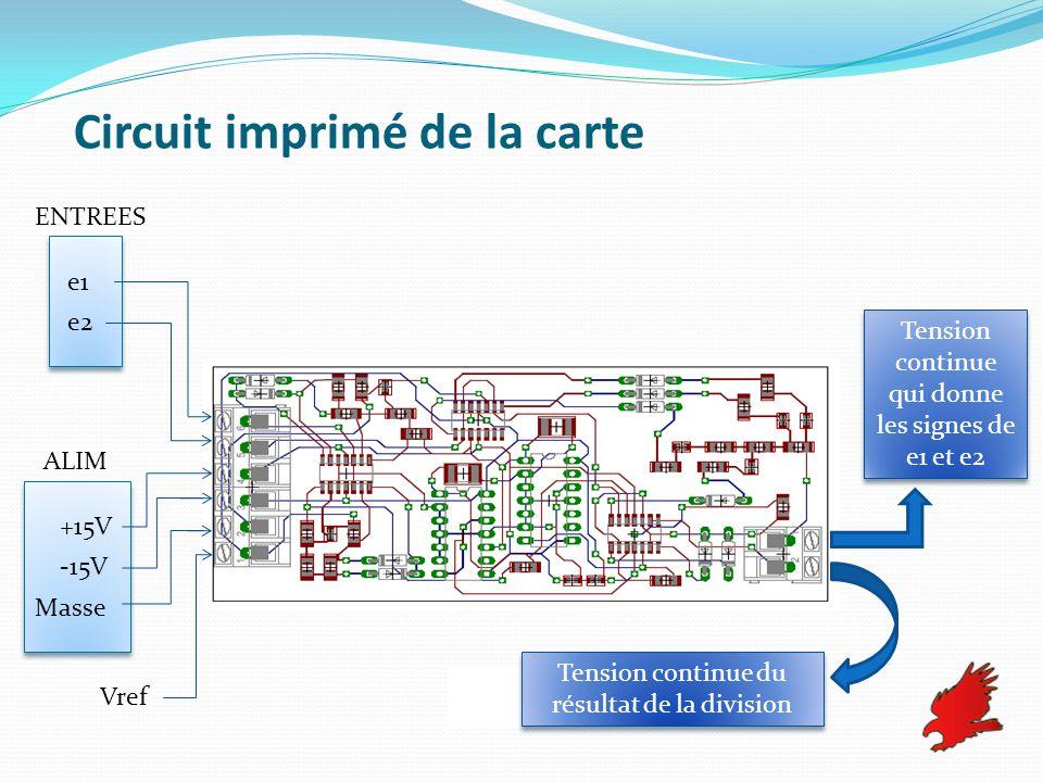 Circuit imprimé de la carte e1 e2 +15V -15V Masse Vref ENTREES ALIM Tension continue du résultat de la division Tension continue qui donne les signes
