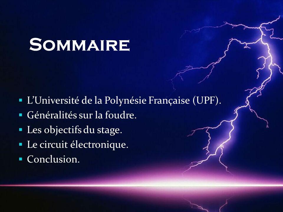 Sommaire  L'Université de la Polynésie Française (UPF).  Généralités sur la foudre.  Les objectifs du stage.  Le circuit électronique.  Conclusio