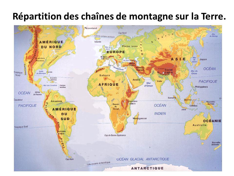 Répartition des chaînes de montagne sur la Terre.