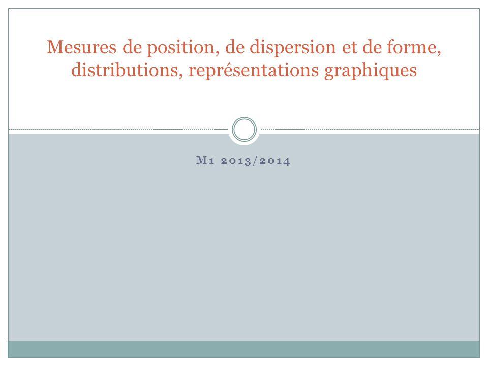 M1 2013/2014 Mesures de position, de dispersion et de forme, distributions, représentations graphiques