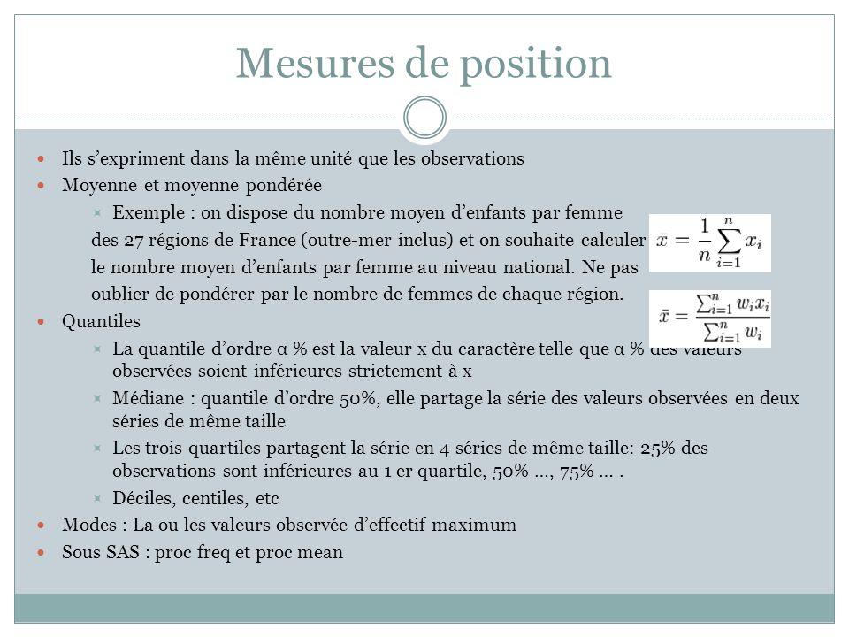 Mesures de position Ils s'expriment dans la même unité que les observations Moyenne et moyenne pondérée  Exemple : on dispose du nombre moyen d'enfan