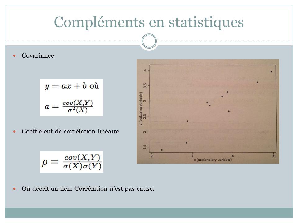 Compléments en statistiques Covariance Coefficient de corrélation linéaire On décrit un lien.