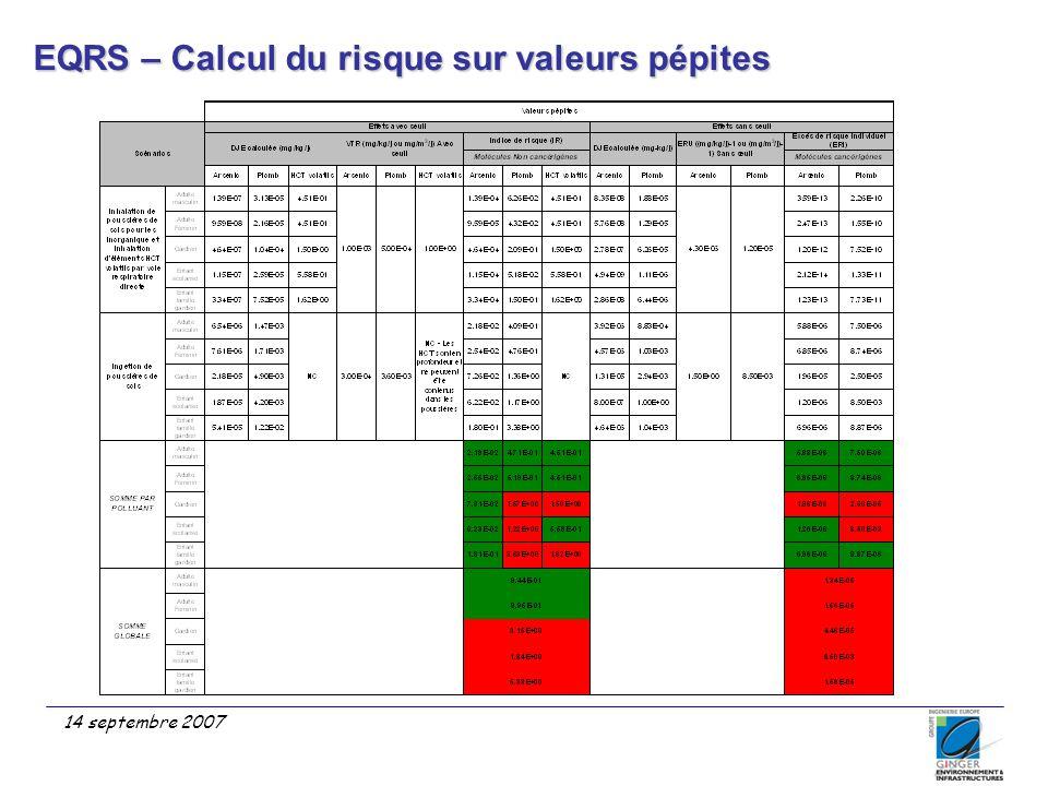 14 septembre 2007 EQRS – Calcul du risque sur valeurs pépites