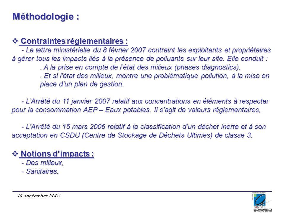 Méthodologie : 14 septembre 2007  Contraintes réglementaires : - La lettre ministérielle du 8 février 2007 contraint les exploitants et propriétaires