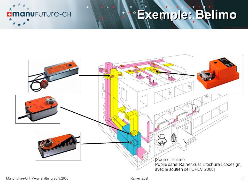 Exemple: Belimo 11 ManuFuture-CH Veranstaltung 26.9.2008 Rainer Züst [Source: Belimo Publié dans: Rainer Züst, Brochure Ecodesign, avec le soutien de l'OFEV, 2008]