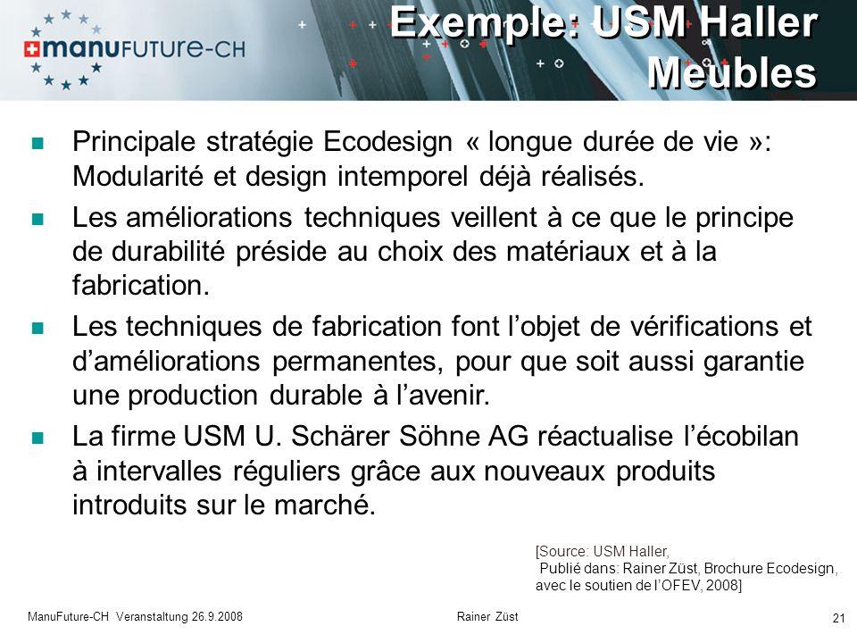 Exemple: USM Haller Meubles 21 ManuFuture-CH Veranstaltung 26.9.2008 Rainer Züst Principale stratégie Ecodesign « longue durée de vie »: Modularité et design intemporel déjà réalisés.