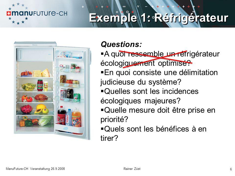 6 ManuFuture-CH Veranstaltung 26.9.2008 Rainer Züst Questions:  A quoi ressemble un réfrigérateur écologiquement optimisé.