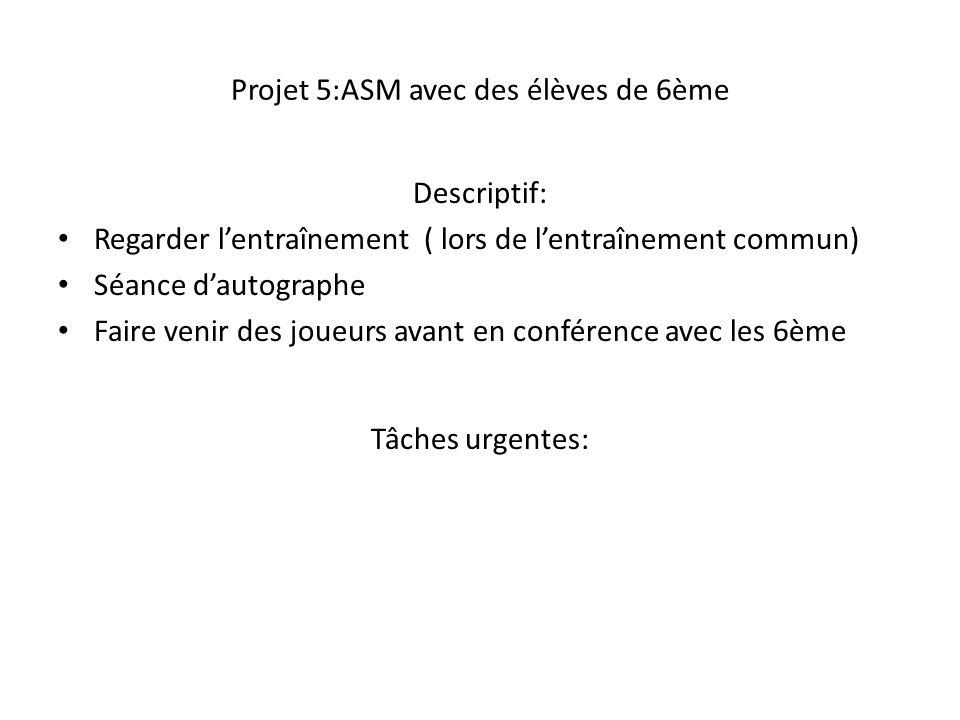 Projet 5:ASM avec des élèves de 6ème Descriptif: Regarder l'entraînement ( lors de l'entraînement commun) Séance d'autographe Faire venir des joueurs