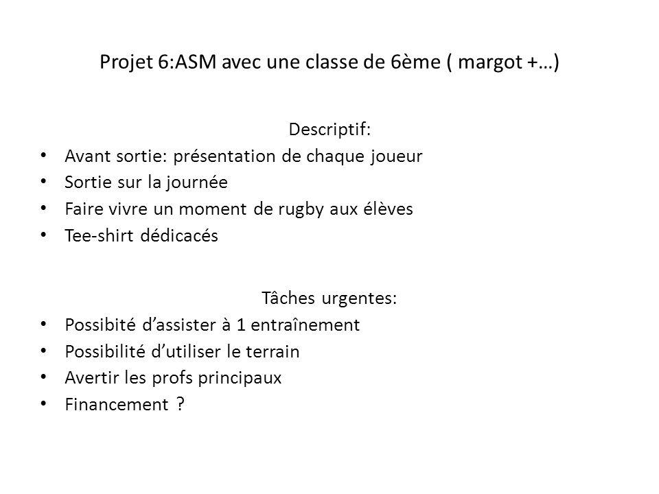 Projet 6:ASM avec une classe de 6ème ( margot +…) Descriptif: Avant sortie: présentation de chaque joueur Sortie sur la journée Faire vivre un moment