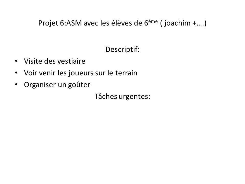 Projet 6:ASM avec les élèves de 6 ème ( joachim +….) Descriptif: Visite des vestiaire Voir venir les joueurs sur le terrain Organiser un goûter Tâches
